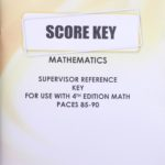 Supervisor Reference KEY Math 1085-1090 (S.A) 3/14